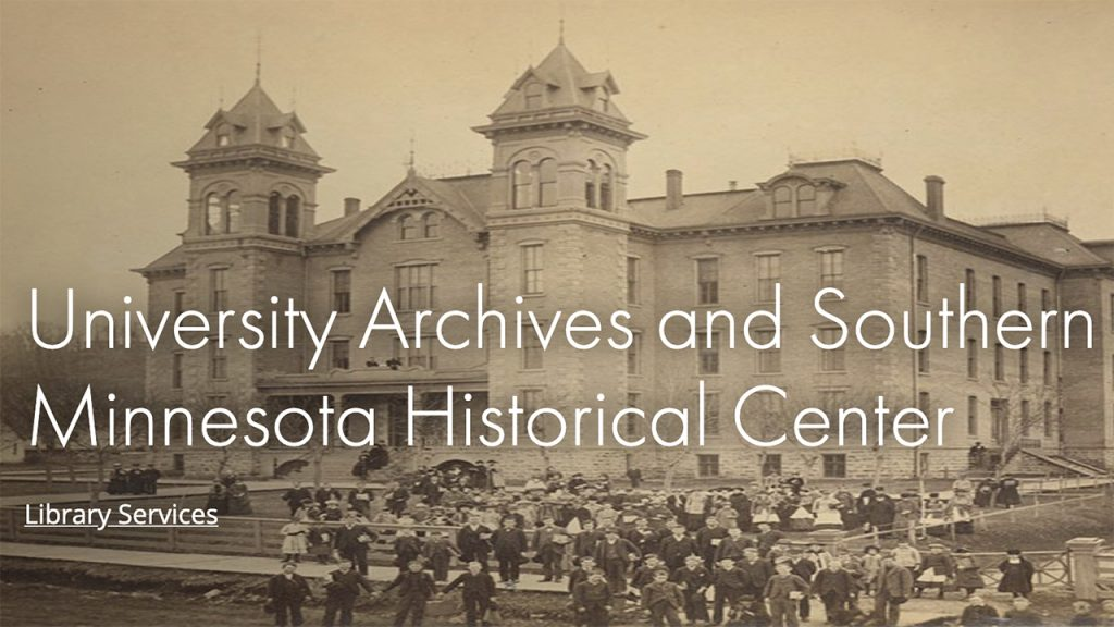 Image of historic Old Main at Minnesota State University Mankato as the cover photo for the University Archives website.