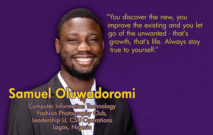 "Samuel Oluwadoromi and his BEST Board quote: ""You discover the new, you improve the existing and you let go of the unwanted - that's life. Always stay true to yourself."""