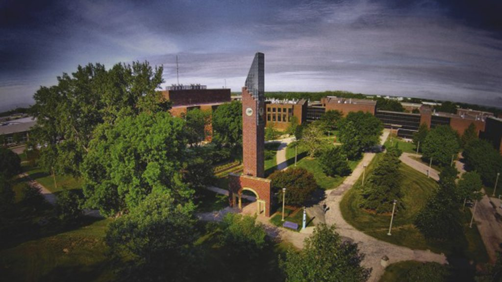 Aerial view of the Minnesota State Mankato campus featuring the iconic courtyard bell tower.