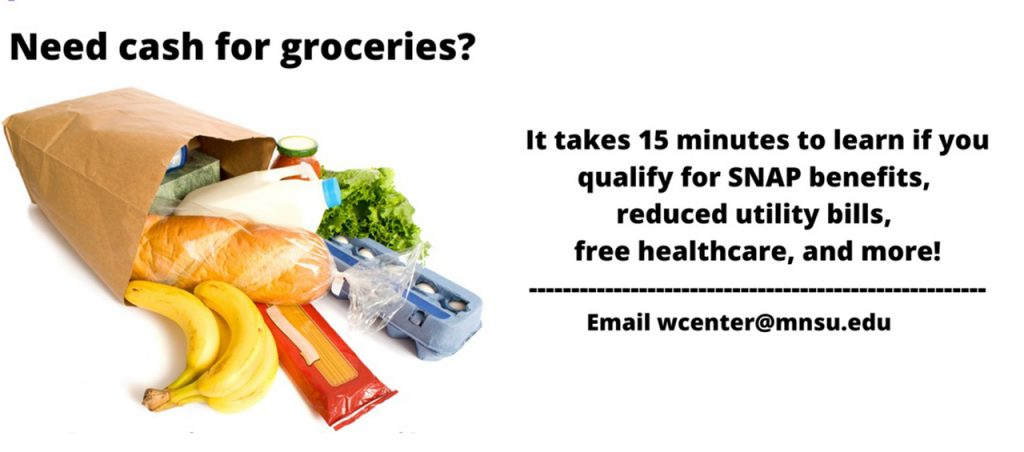 "Bag of groceries with heading ""Need cash for groceries?"" Take 15 minutes to qualify for SNAP benefits, reduced utility bills, free healthcare and more. Email wcenter@mnsu.edu"