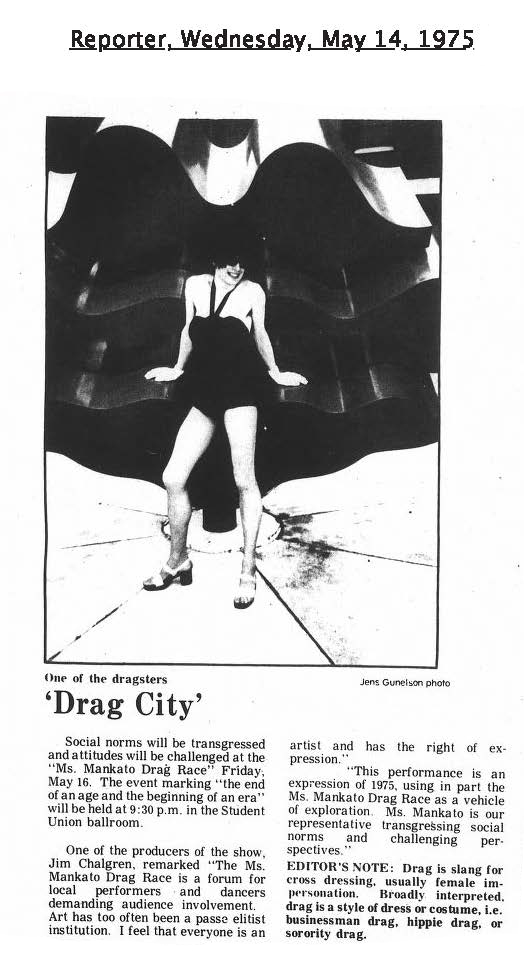 Photo of a performer at the first campus drag show in May 1975.