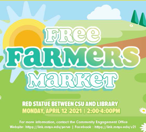 Bags of Produce Available at April 12 Free Farmers Market on the Campus Mall